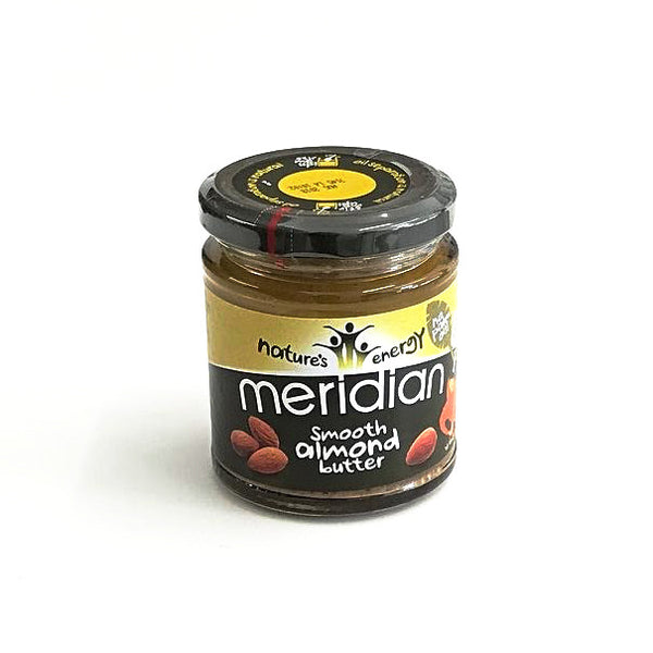meridian foods smooth almond butter in a glass jar of 170 grams