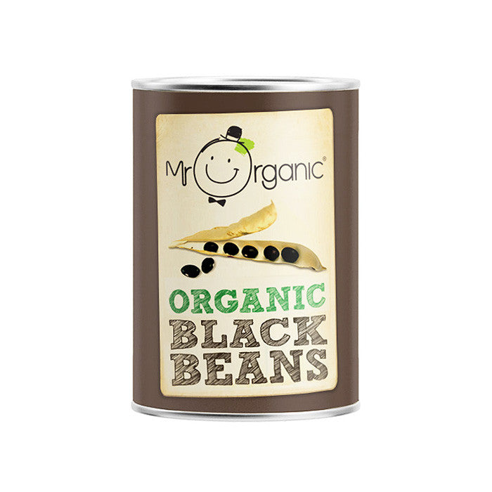 black beans by mr organic in a tin