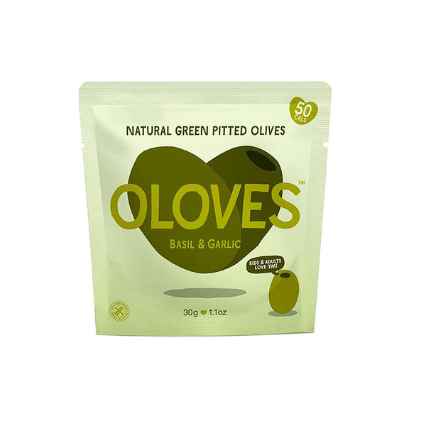 Oloves basil and garlic green pitted olives