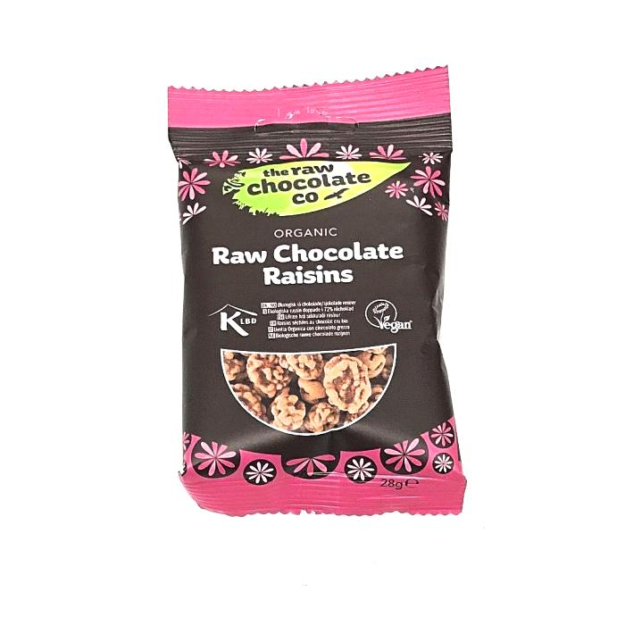 raw chocolate raisins which are organic and made by the raw chocolate company