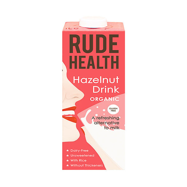 rude health hazelnut drink which is organic and available at shorebeing natural foods