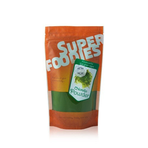 chlorella powder in a packet by super foodies and sold at shorebeing natural foods