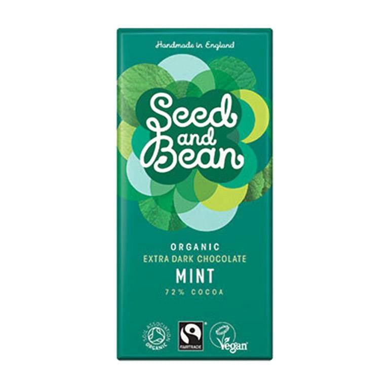 a dark chocolate bar with mint 72% cocoa and organic made by seed and bean