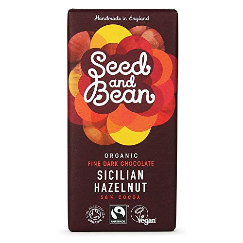 hazelnut flavoured dark chocolate bar made by seed and bean