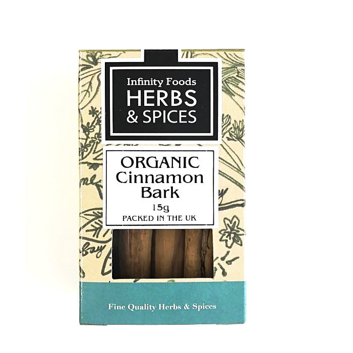 an organic small box of cinnamon bark 15g by infinity foods