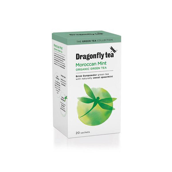 an organic green tea with flavours of spearmint and mint dragonfly tea