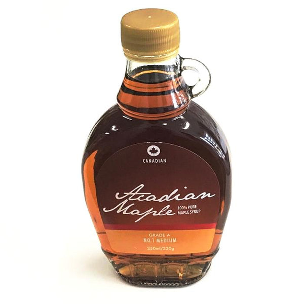 100% maple syrup by acadian and grade A no. 1 medium