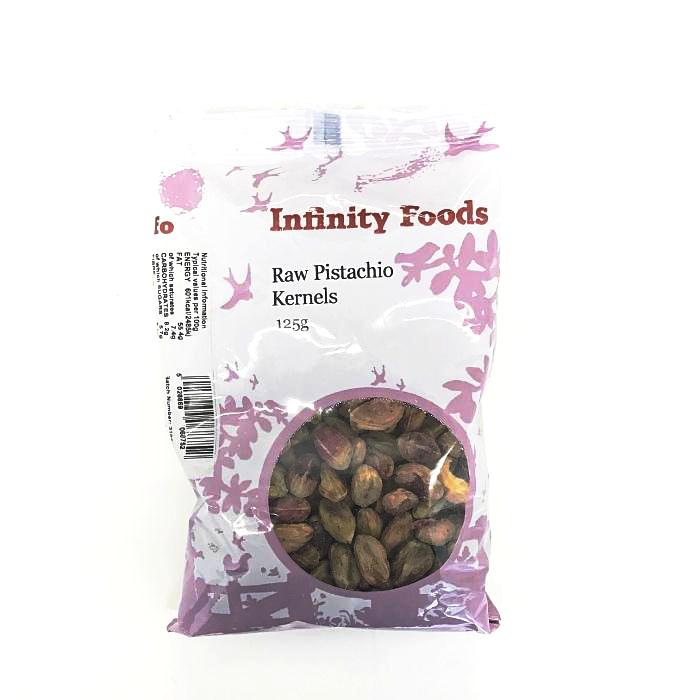 a bag of raw pistachio kernels by infinity foods and sold at shorebeing natural foods worthing