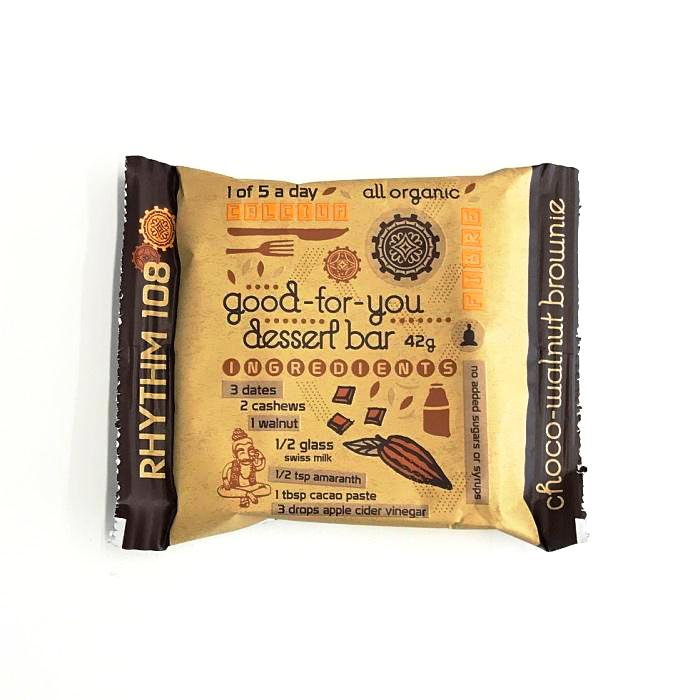 an organic chocolate walnut brownie bar which is gluten free