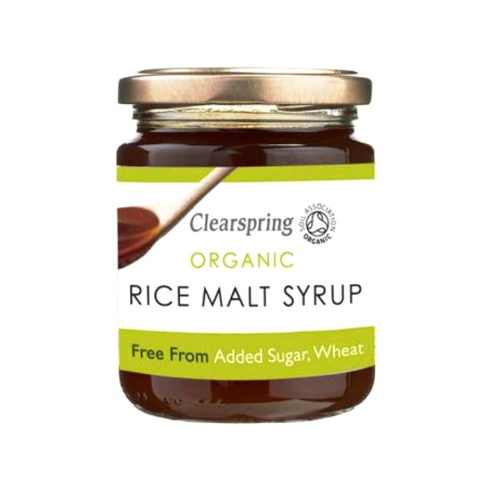 rice malt syrup which is organic and free from added sugar or wheat and by clearspring