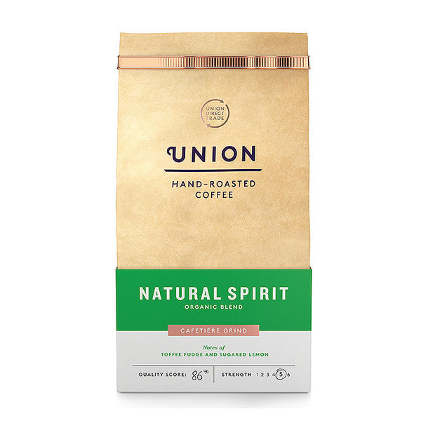 union natural spirit coffee with notes of toffee fudge and lemon