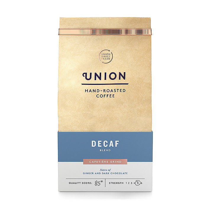 decaffeinated hand roasted coffee made by union and available at shore being in worthing