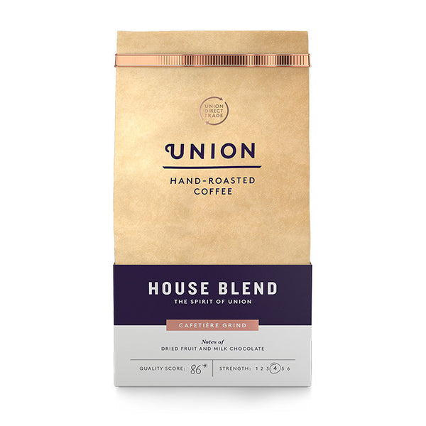 union house blend coffee which is a medium roast and cafetière grind