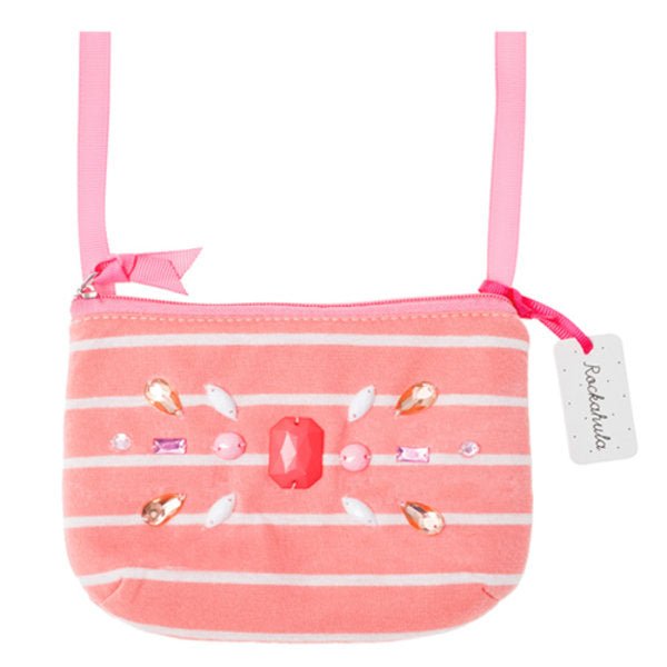 Stripy Gem Bag in Coral
