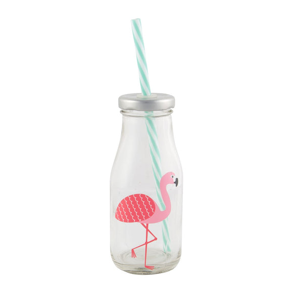 Flamingo Mini Drinks Bottle with Straw