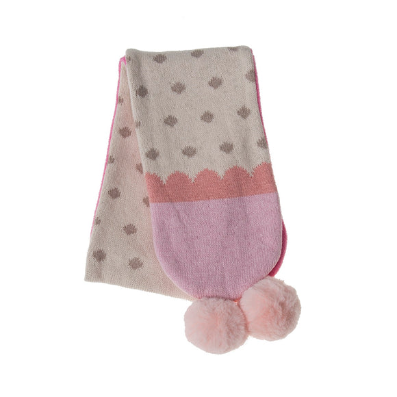 Furry Pom Pom Scarf in Soft Pink