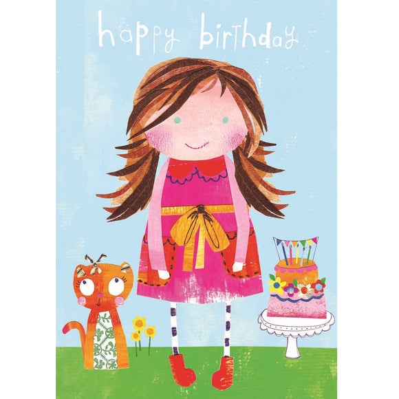 Girl & Cat Birthday Card