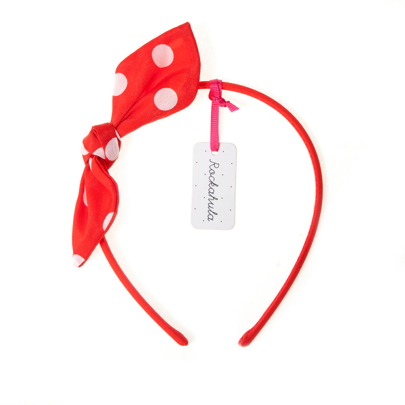 Spotty Bow Alice Band in Red