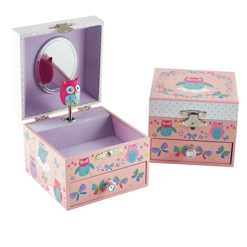 Owl and Butterfly Musical Jewellery Box