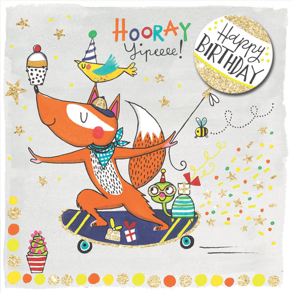 Fox on a Skateboard Birthday Card