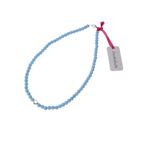 Blue Beads and Silver Heart Necklace