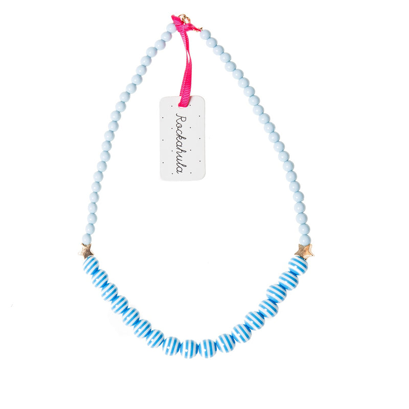 Stripe and Star Bead Necklace in Blue