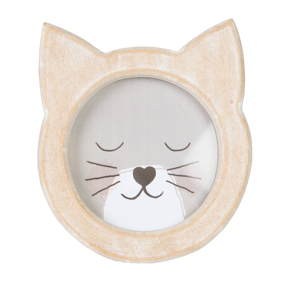 Cat Face Rustic Wood Photo Frame