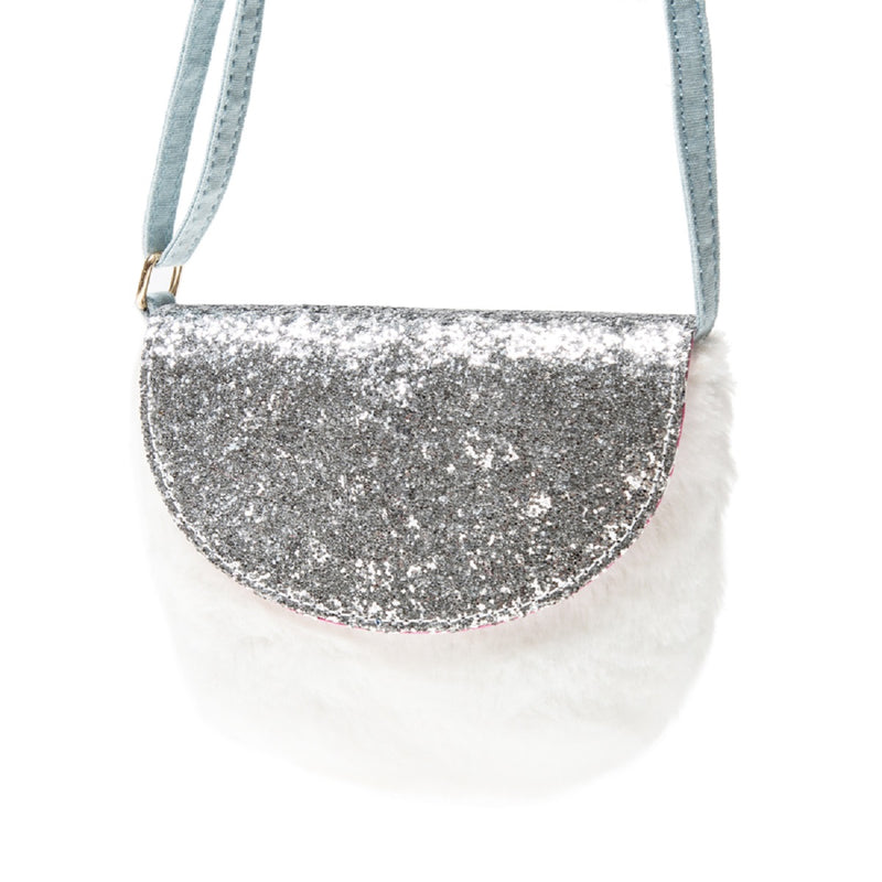 Glitter and Fur Bag in White