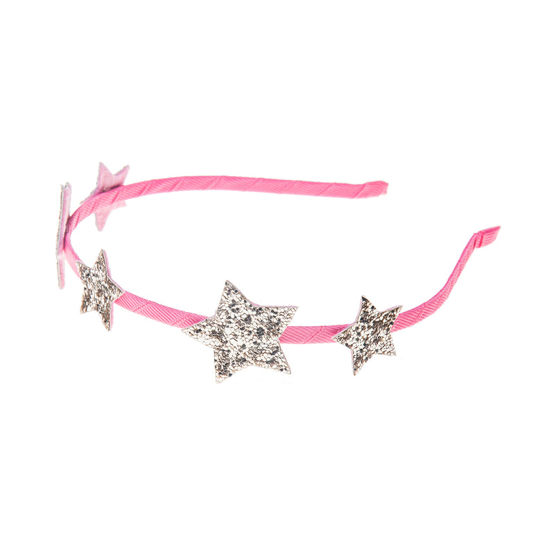 Star Glitter Alice Band in Pink