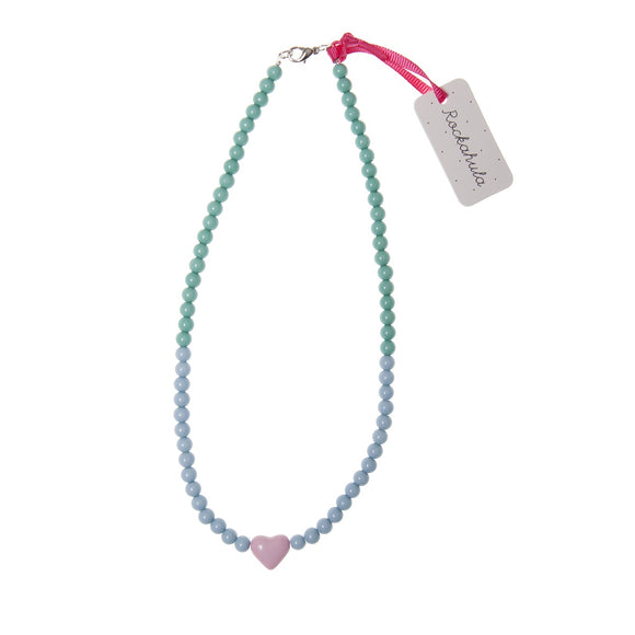 Multi Colour Bead Necklace with Pink Heart
