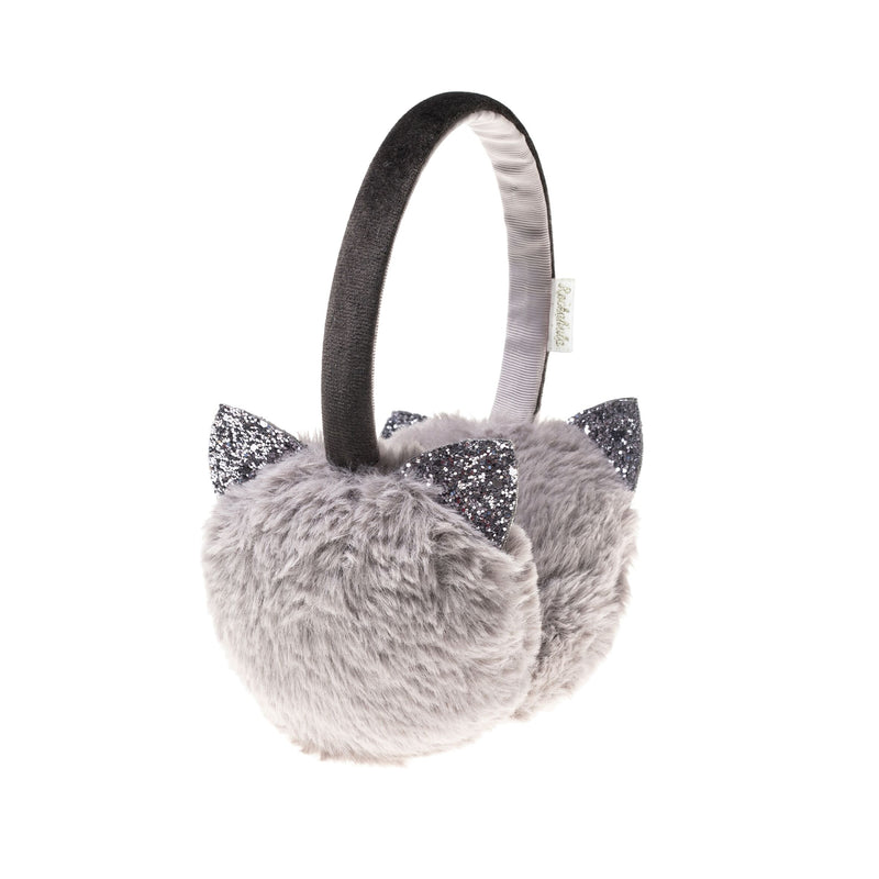 Glitter Cat Earmuffs in Grey