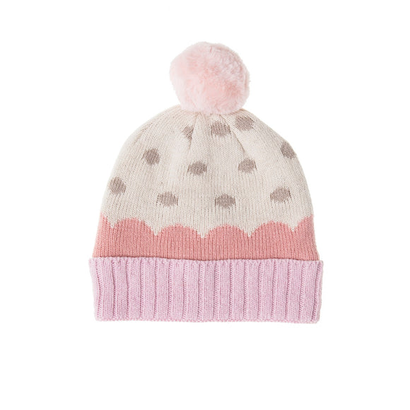 Furry Pom Pom Hat in Soft Pink