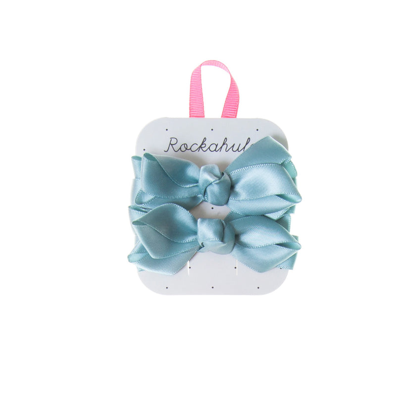 Satin Ruffle Bow Hair Clip in Duck Egg Blue
