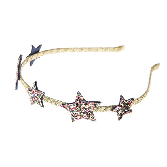 Star Glitter Alice Band in Gold