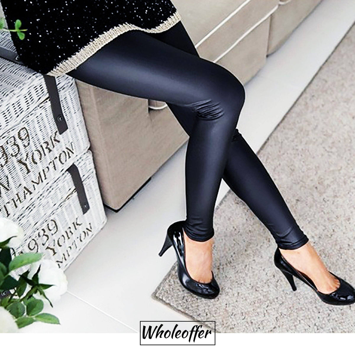 Metallic Black Leather Leggings