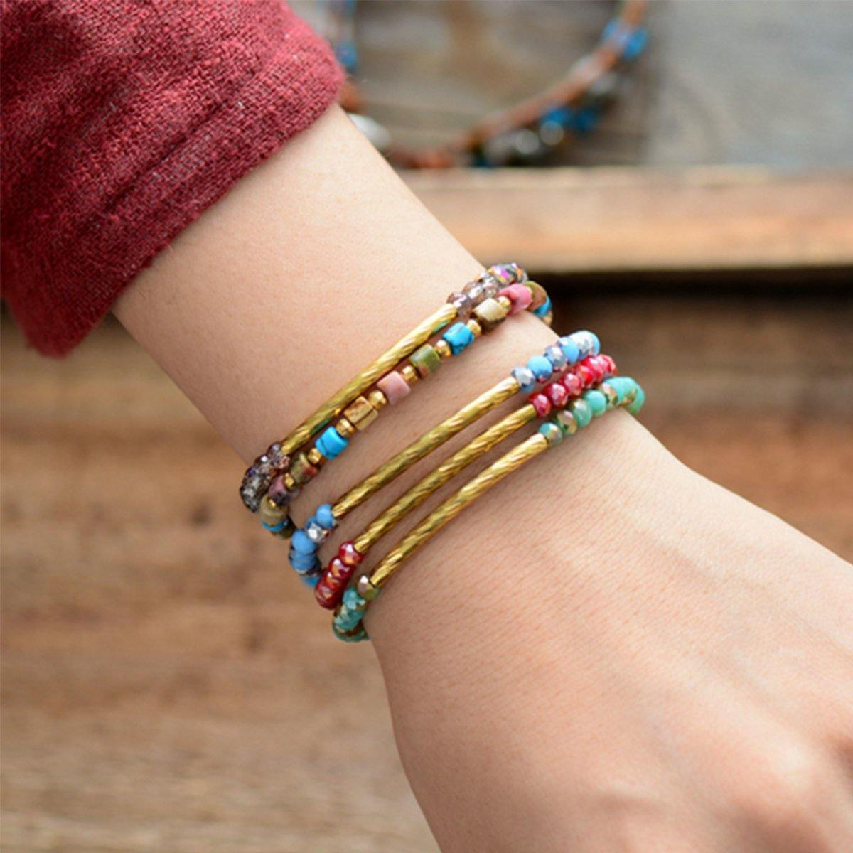 Boho Beaded Crystal Bracelets