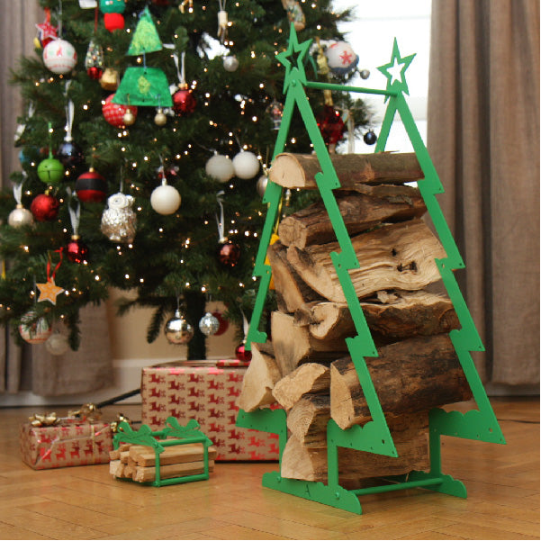 Christmas Tree log holder and kindling present