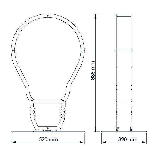A dimensional drawing of Ardour's light bulb metal log basket. It is 838 millimetres tall, 520 millimetres wide and 320 millimetres deep