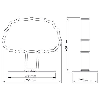A dimensional drawing of Ardour's Oak tree shaped metal log basket. It is 688 millimetres tall, 720 millimetres wide and 320 millimetres deep