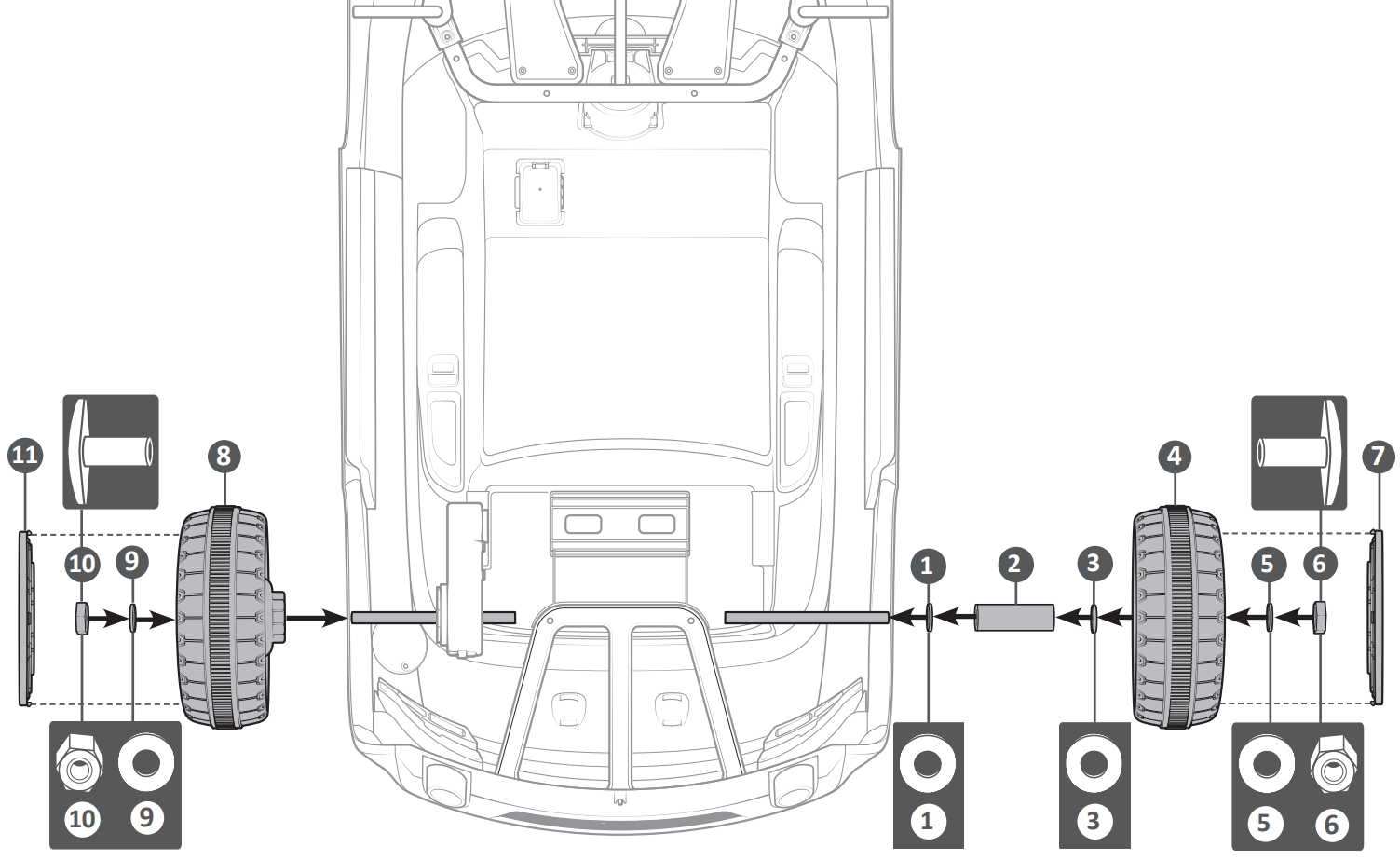 audi tt ride on car back wheel assembly illustration