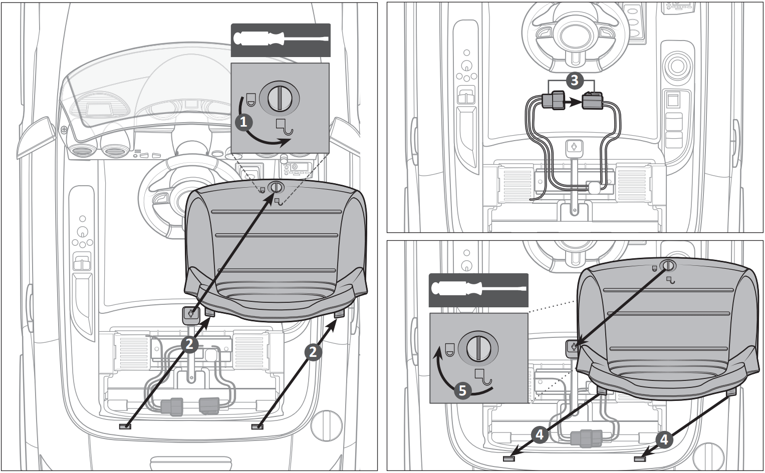 audi tt ride on car seat assembly illustration