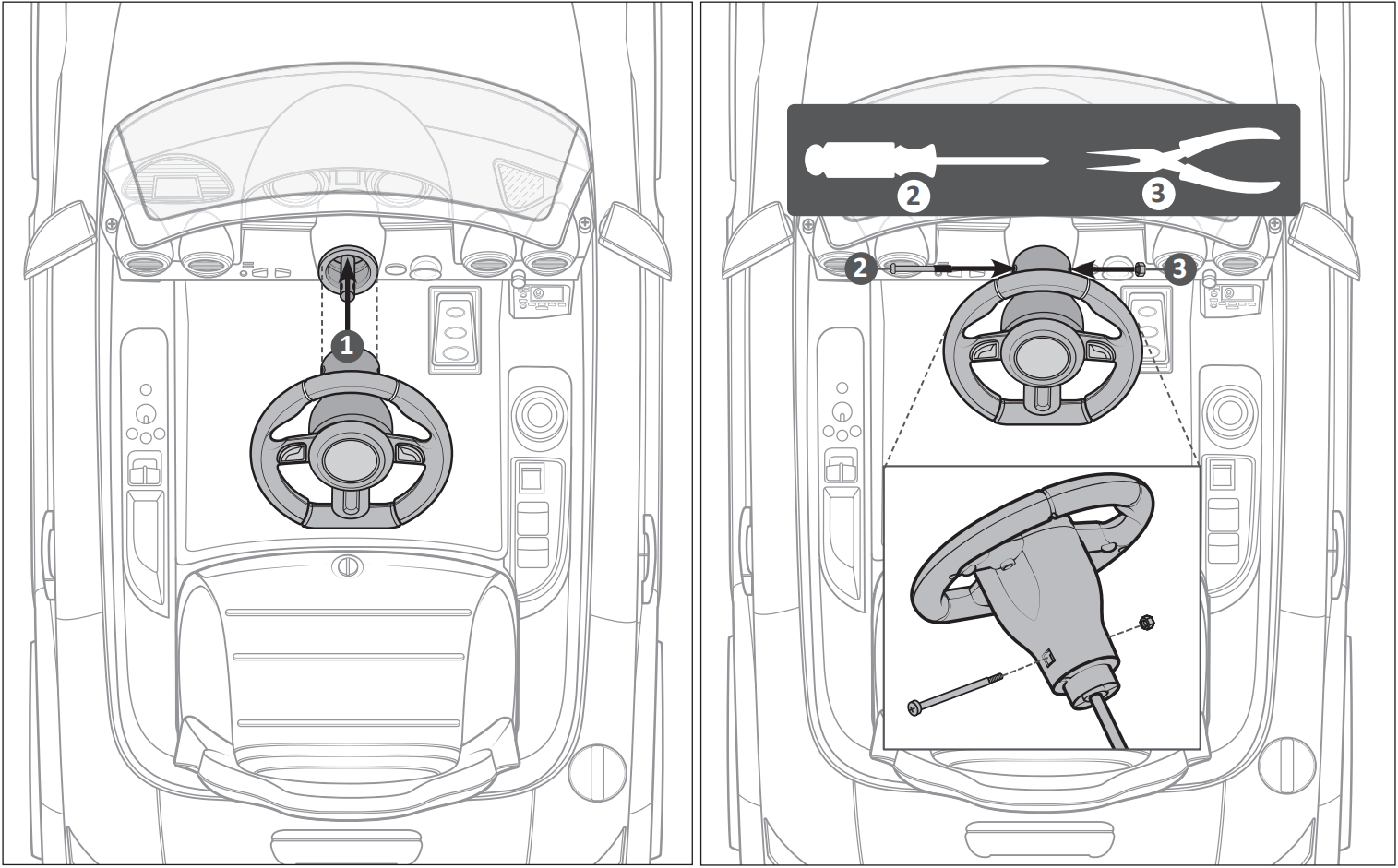 audi tt ride on car steering wheel assembly illustration