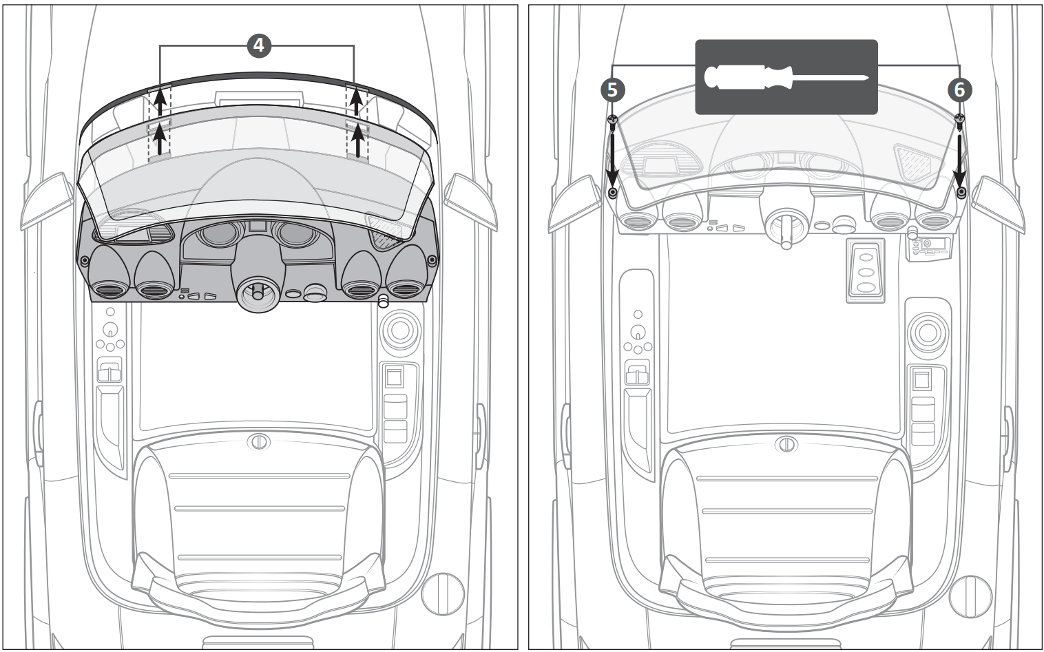 audi tt ride on car windscreen assembly illustration