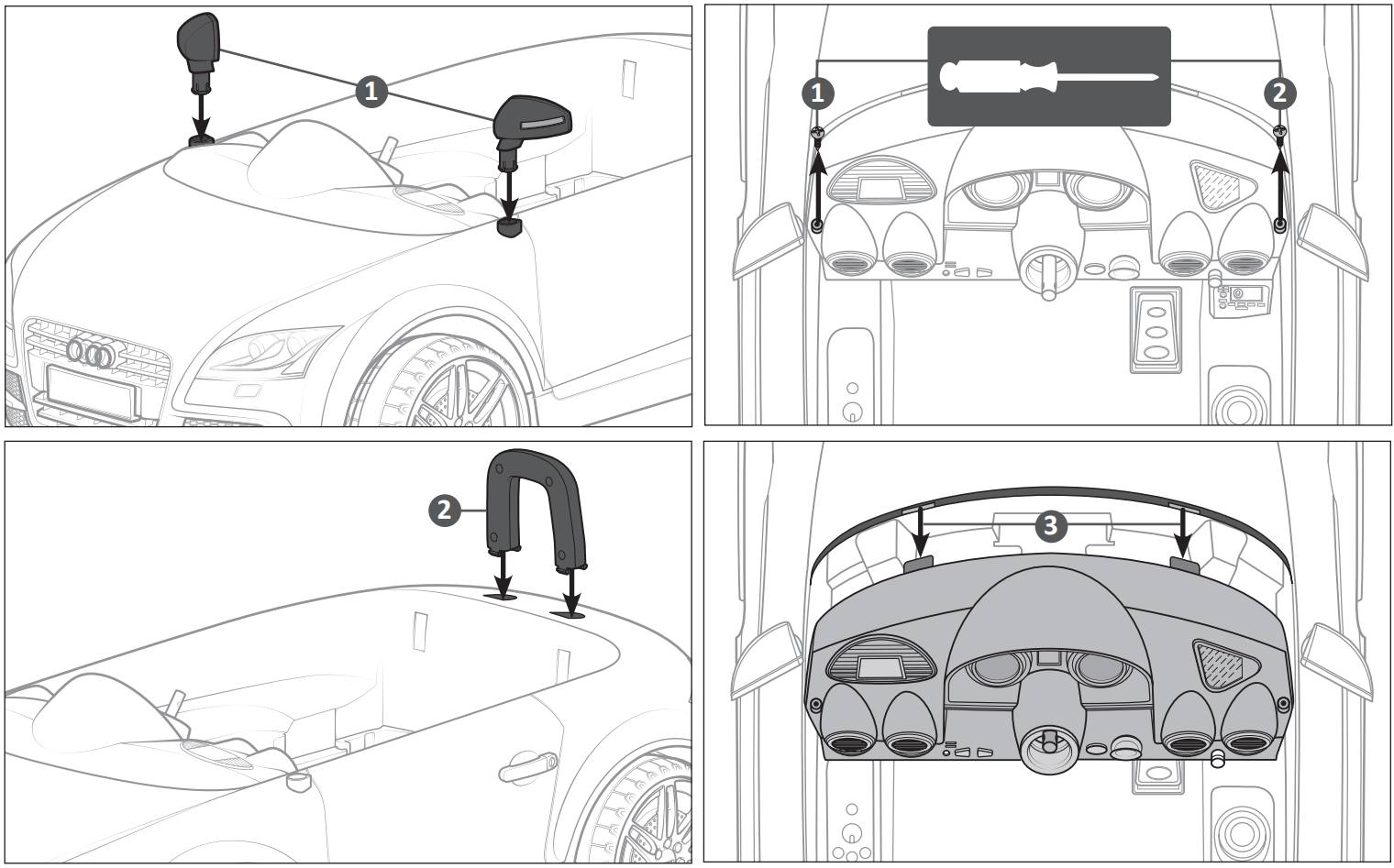 audi tt ride on car wing mirror, back headrest assembly illustration
