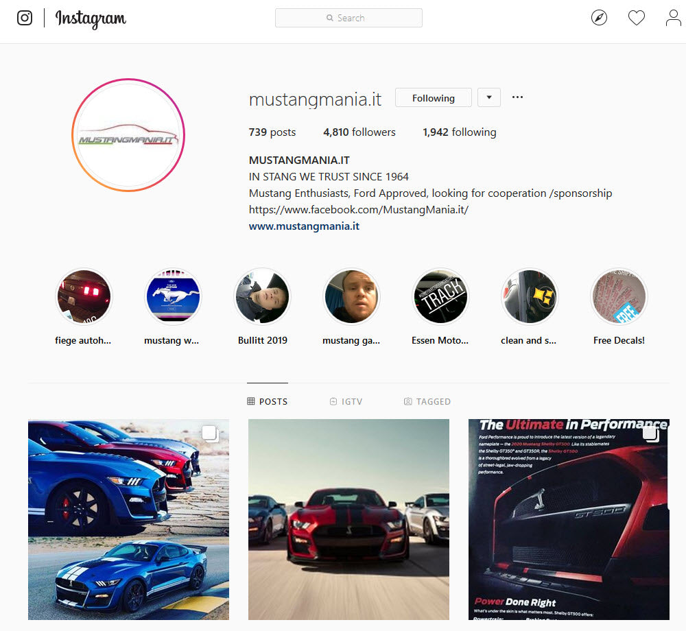 MustangMania Instagram account