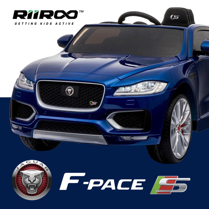2kids jaguar f pace licensed electric battery ride on car jeep with parental remote control power wheels blue 2