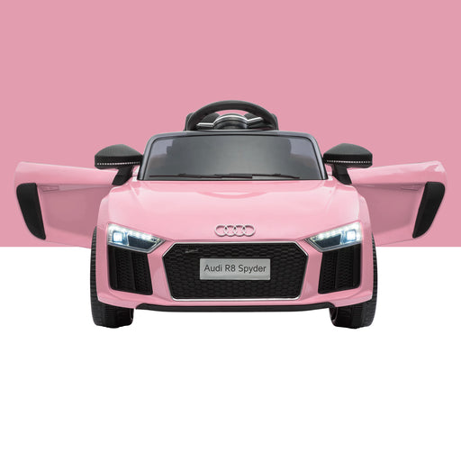 audi r8 licensed kids electric ride on car with parental remote pink audi r8 spyder super sports car kids ride on 12v lights parental remote mp3