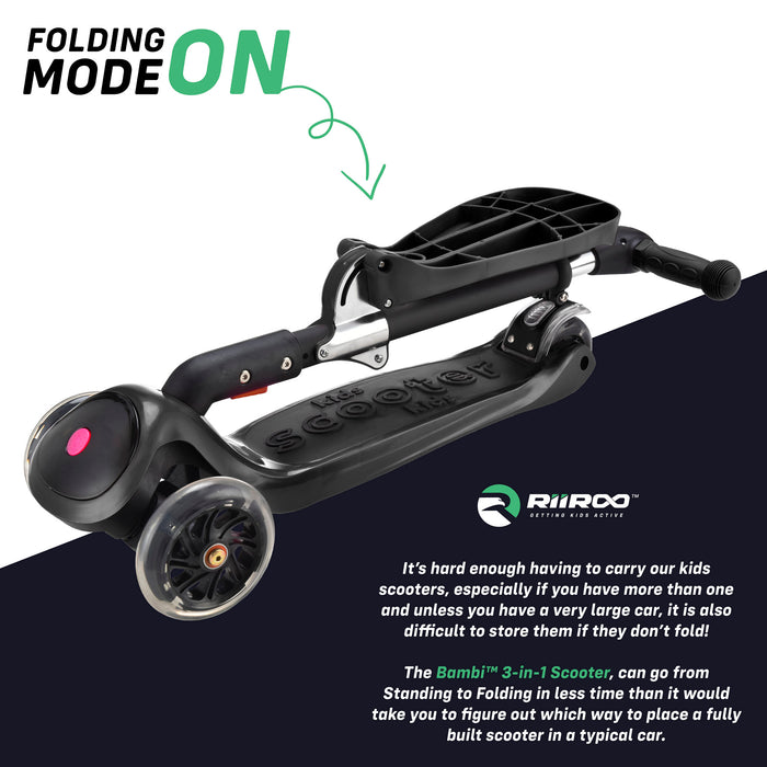 bambi three in one scooter adjustable folded black riiroo 3 kids black