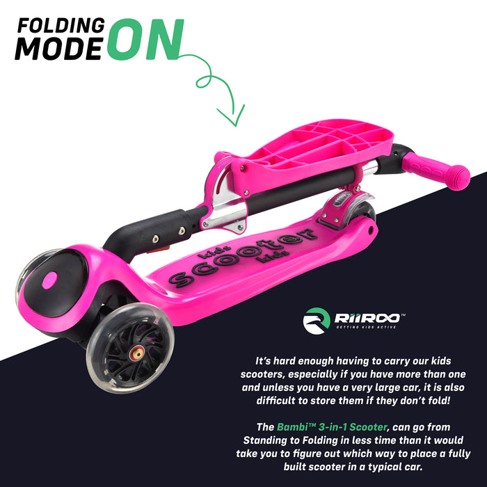 bambi three in one scooter adjustable folded pink riiroo 3 kids pink