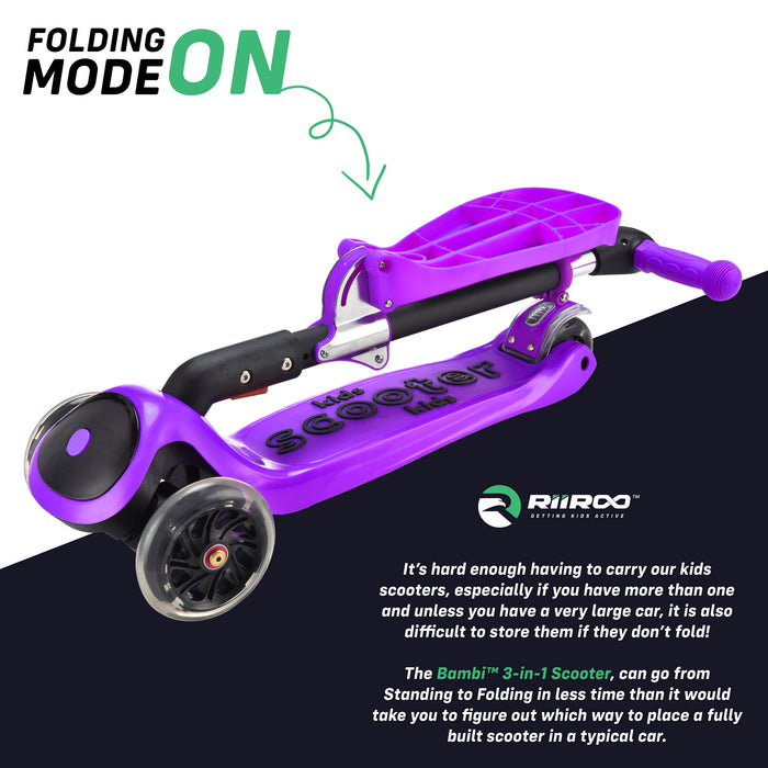 bambi three in one scooter adjustable folded purple riiroo 3 kids purple